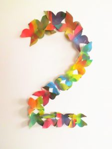 number 2 party decorative paper butterflies