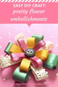 easy diy craft, pretty flower embellishments